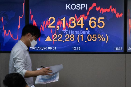 A screen shows the closing numbers for the Kospi in a trading room at Hana Bank in Jung-district, central Seoul, Thursday. [NEWS1]