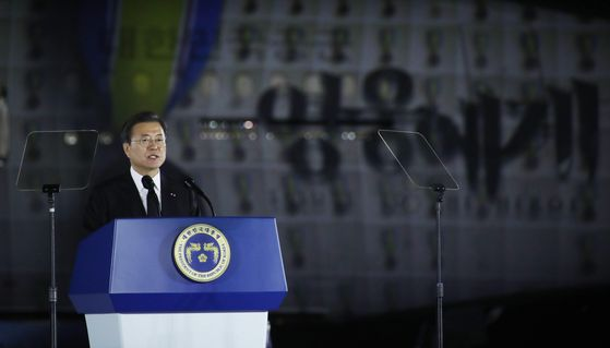 During a ceremony to commemorate the 70th anniversary of the outbreak of the Korean War, President Moon Jae-in stresses the importance of perseverance in dealing with North Korea. [JOINT PRESS CORPS]