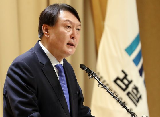 In this file photo, Prosecutor General Yoon Seok-youl gives a New Year's address at the Supreme Prosecutors' Office on Jan. 2, 2020. [YONHAP]