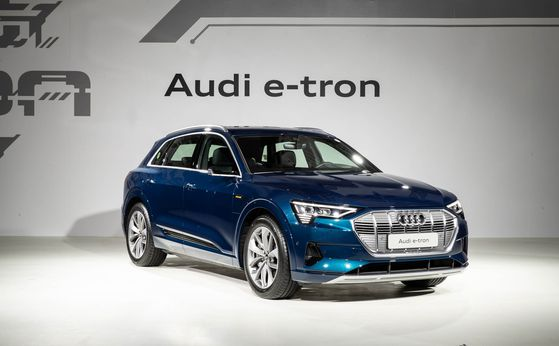 Audi's e-tron 55 quattro is shown at a launch event at the InterContinental Seoul COEX in southern Seoul. [AUDI KOREA]