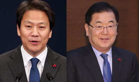 From left, Im Jong-seok, former presidential chief of staff, and Chung Eui-yong, outgoing director of the National Security Office of the Blue House, are named the special advisors to the president on Friday.  [YONHAP]
