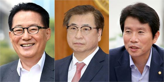 President Moon Jae-in on Friday named Park Jie-won,left, as the new director of the National Intelligence Service, and Suh Hoon, center, as the director of the National Security Office of the Blue House. Lee In-young was named as the new unification minister. [YONHAP]