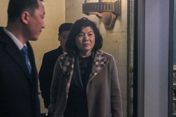 North Korea's First Vice Foreign Minister Choe Son-hui, who issued a statement refusing talks with Washington on Saturday, exits the Russian Foreign Ministry in Moscow in this file photo from November. [YONHAP]