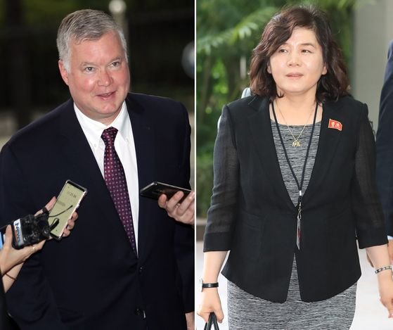 Stephen Biegun, the U.S. deputy secretary of state and special representative for North Korea, left, is set to kick off his first trip to Seoul this week, in a photo from September 2018. North Korea's First Vice Foreign Minister Choe Son-hui, right, on Saturday issued a statement refusing talks with Washington is pictured in a photo from 2018. [YONHAP]