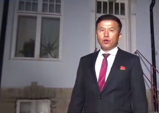 Kwon Jong-gun, director-general of the North Korean Foreign Ministry's Department of U.S. Affairs, seen in footage from talks with U.S. officials in Stockholm last October. [SCREEN CAPTURE]