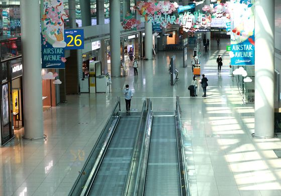 The duty-free store section located in Terminal 1 of Incheon International Airport is empty as the number of customers drops from the coronavirus pandemic. [NEWS1]