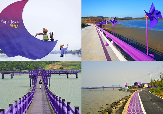 Walking trails, bridges and road barricades are all purple. [SINAN COUNTY]