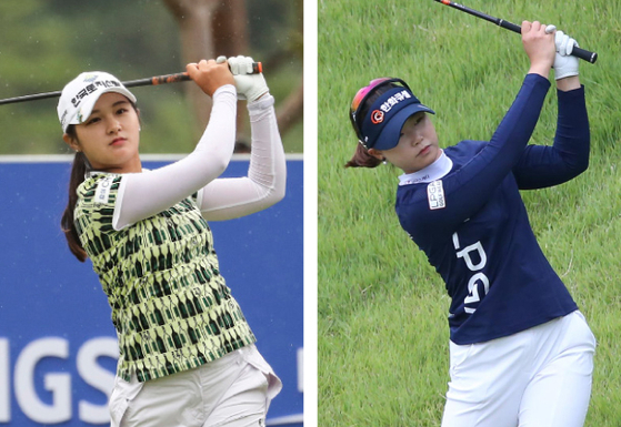 Park Hyun-kyung, left, and Lim Hee-jeong watch their shots during the second round of the IS Dongseo Busan Open at Stone Gate Country Club in Gijang, Busan on Sunday. [YONHAP, KLPGA]