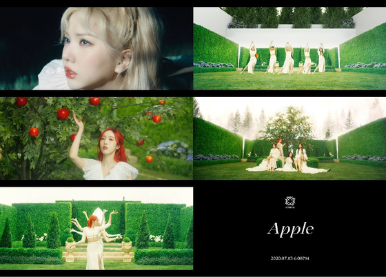 """Teaser images of """"Apple,"""" the title track of GFriend's upcoming 10th EP. [SOURCE MUSIC]"""