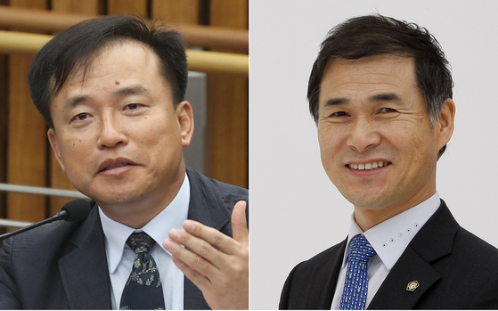 The Democratic Party (DP) on Monday names Kim Jong-cheol, a law professor at Yonsei University, left, and Chang Sung-keun, a lawyer, as members of the nomination committee to recommend candidates to head the Corruption Investigation Office for High-Ranking Officials to the president. [YONHAP]