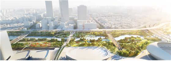 A design of the new park in southern Seoul by Dutch and Korean architects, to be completed by 2024.[SEOUL METROPOLITAN GOVERNMENT]