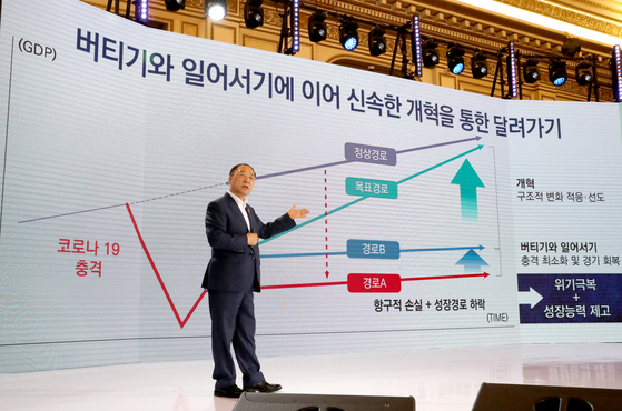 Finance Minister Hong Nam-ki presenting the details of Korea's New Deal at the Blue House. [YONHAP]