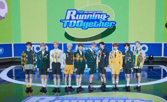 "Boy band TOO holds an online showcase for its second EP 'Running TOOgether"" on Wednesday afternoon. [STONE MUSIC ENTERTAINMENT, N.CH ENTERTAINMENT]"