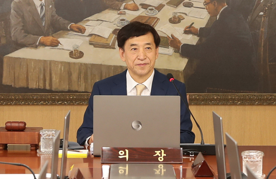 Bank of Korea Gov. Lee Ju-yeol presides over a monetary policy meeting on Thursday in central Seoul. [YONHAP]