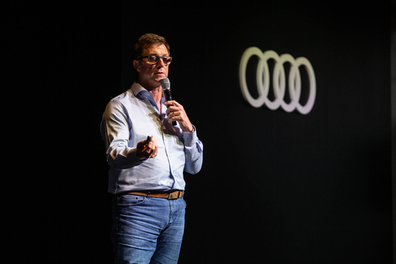 Jeff Mannering, executive director of Audi Korea, speaks to the press at a two-day media event in Hongcheon, Gangwon, on Monday. [AUDI KOREA]