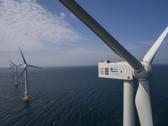 Doosan Heavy Industries & Construction's offshore wind turbines installed in Jeju. [DOOSAN HEAVY INDUSTRIES & CONSTRUCTION]