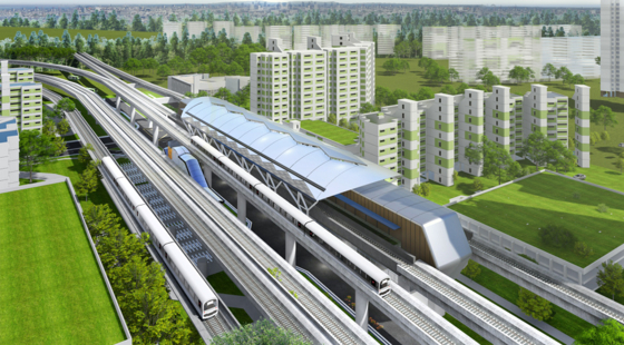 An aerial view of the railway construction project Daewoo E&C will design and build in Jurong, Singapore. [DAEWOO E&C]