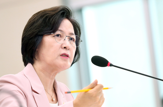 Justice Minister Choo Mi-ae answers questions from other lawmakers at a plenary session at the national assembly. [YONHAP]