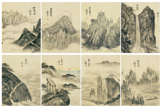 Haeak palgyeong and Songyu palhyeongdo (Album of Eight Scenic Views of Seas and Mountains and Eight Confucian Scholars of the Song Dynasty) by renowned landscape painter of the Joseon Dynasty, Gyeomjae Jeong Seon (1676-1759) [K AUCTION]