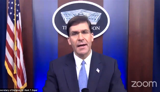U.S. Defense Secretary Mark Esper delivers remarks via teleconference for an event hosted by the International Institute for Strategic Studies on Tuesday. [SCREEN CAPTURE]