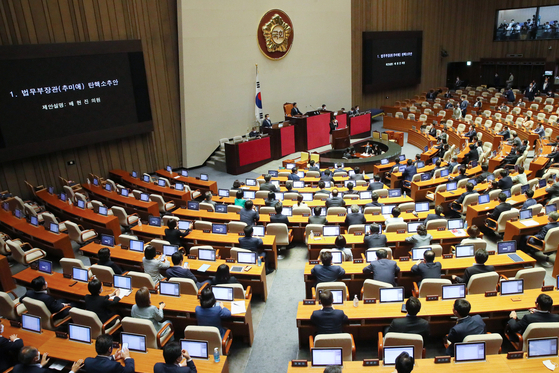 A motion to impeach Justice Minister Choo Mi-ae, sponsored by 110 conservative opposition lawmakers, is brought up for a vote at the National Assembly on Thursday.  [YONHAP}