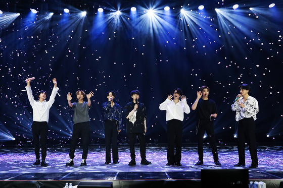 "This photo, provided by Big Hit Entertainment, shows a scene from the 90-minute online concert ""Bang Bang Con: The Live"" hosted by BTS on June 14. [BIG HIT ENTERTAINMENT]"