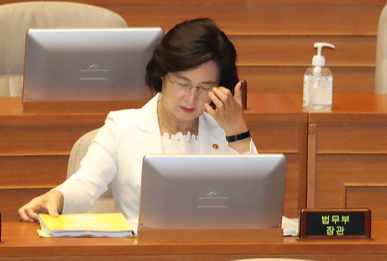 Justice Minister Choo Mi-ae attends a National Assembly hearing on Wednesday.  [YONHAP]