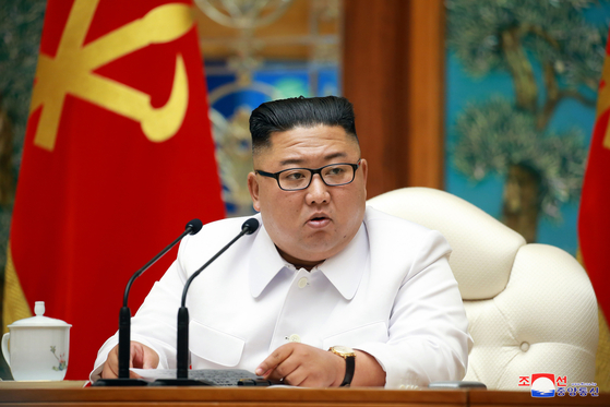 North Korean leader Kim Jong-un convenes an emergency Political Bureau meeting of the Central Committee of the North's ruling Workers' Party on Saturday, according to a photograph released by state media. [YONHAP]