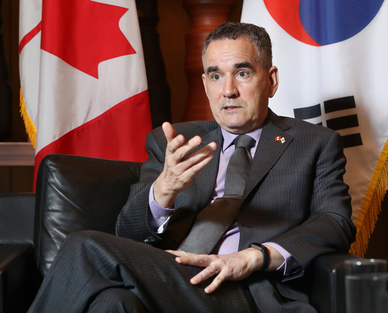 Canadian Ambassador to Korea Michael Danagher speaks with the Korea JoongAng Daily at the embassy in central Seoul on July 14. [PARK SANG-MOON]