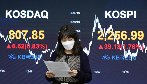 The final Kospi figure is displayed on a screen in a dealing room at KB Kookmin bank in the financial district of Yeouido, western Seoul, on Tuesday. [NEWS1]