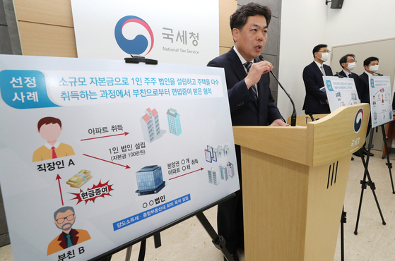A National Tax Service (NTS) director announces an investigation into 413 owners of multiple houses accused of evading tax at the Sejong Government Complex on Tuesday. This group of people is suspected of having circumvented the law to have real estate transferred from affluent parents or relatives without paying a transfer tax or real estate tax. Sixty-two of them, for example, had zero source of income while 44 had little or less income but bought houses with money transferred from their parents. [YONHAP]