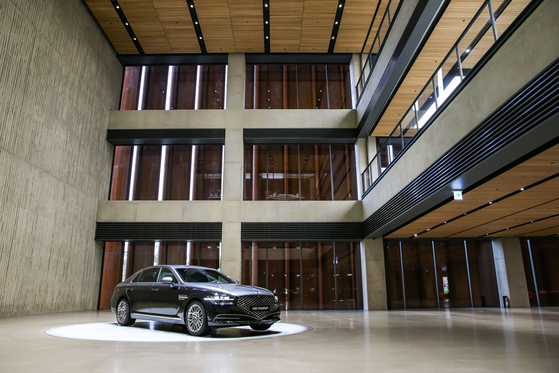 Genesis, a luxury brand from Hyundai Motor, opens its largest exhibition hall in Suji, Gyeonggi, on July 30 where some 40 Genesis vehicles are on display throughout the four-story building. It is the brand's third exhibition hall, following branches in Gangnam, southern Seoul, and Starfield Hanam, Gyeonggi. [HYUNDAI MOTOR]