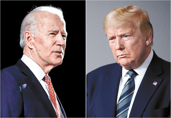 Former Vice President Joe Biden, left, the presumptive Democratic Party presidential nominee, in Delaware on March 12, left, and U.S. President Donald Trump at the White House in Washington on April 5. [AP/YONHAP]