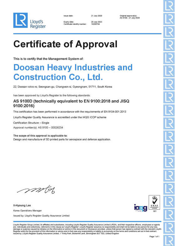 Doosan Heavy Industries & Construction received a certification to make parts for aerospace companies using 3D printing. [DOOSAN HEAVY INDUSTRIES & CONSTRUCTION]