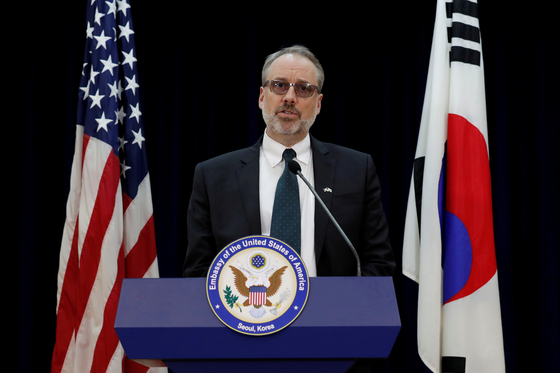 James DeHart, newly appointed as the U.S. State Department's senior adviser for Arctic affairs, speaks at the U.S. Embassy after walking out of Special Measures Agreement (SMA) talks in Seoul on Nov. 19, 2019. [REUTERS/YONHAP]