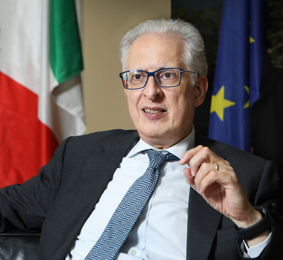 Ambassador of Italy to Korea, Federico Failla, speaks with the Korea JoongAng Daily on July 23 at the Italian Embassy in central Seoul. [PARK SANG-MOON]