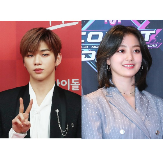 Kang Daniel, left, and Jihyo of girl group Twice. [ILGAN SPORTS]