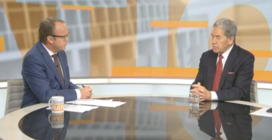 New Zealand Foreign Mininister Winston Peters, right, speaking with Newshub Nation on Saturday. [SCREEN CAPTURE FROM NEWSHUB NATION WEBSITE]