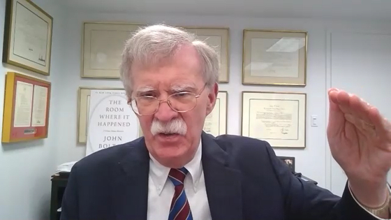 John Bolton, the former U.S. national security adviser, holds a videoconference with the JoongAng Ilbo on Thursday in Washington. [JOONGANG PHOTO]