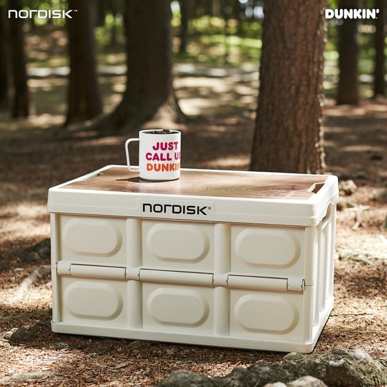 "The 'camping folding box"" released by Dunkin' in partnership with Denmark-based outdoor equipment company Nordisk. [DUNKIN']"