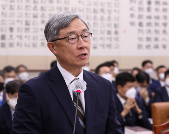 Choi Jae-hyung, head of the Board of Audit and Inspection, gives a business report at the National Assembly on July 29. [NEWS1]