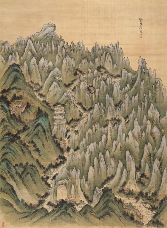 Treasure No. 1951, Pungak Naesan Chongnamdo (General View of Inner Geumgangsan Mountain) by Jeong Seon. [NATIONAL MUSEUM OF KOREA]