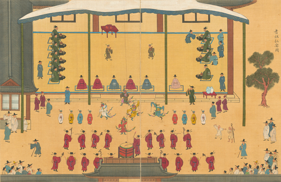 A painting part of National Treasure No. 325, titled the Album of Paintings of the Gathering of Elders, is among 83 national treasures showcased at the National Museum of Korea in central Seoul through Sept. 27. [NATIONAL MUSEUM OF KOREA]