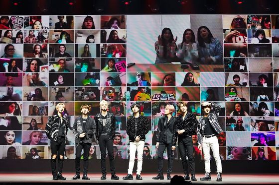 "Boy band SuperM performs during the ""Beyond LIVE"" concert on April 26. [SM ENTERTAINMENT]"