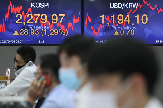 A screen shows the closing figures for the Kospi at a trading room at Hana Bank in Jung District, central Seoul, on Tuesday. [YONHAP]