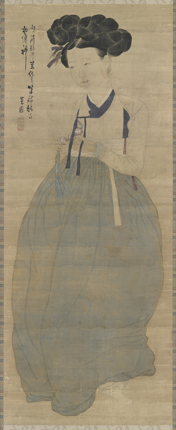 Miindo (Portrait of a Beauty) by Sin Yun-bok, treasure No. 1973. [NATIONAL MUSEUM OF KOREA]