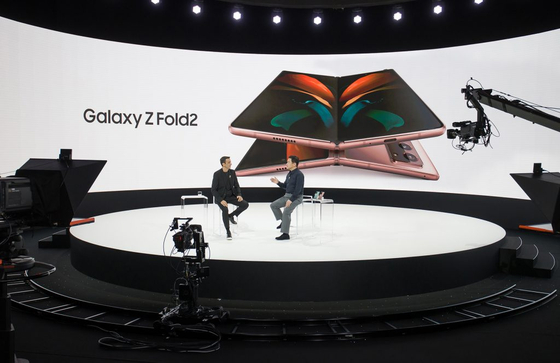 Samsung Electronics head of Mobile Communications Business Roh Tae-mun, left, and Federico Casalegno, head of experience planning, hold a Q&A session during the Galaxy Unpacked virtual event aired live from Seoul, Wednesday. [SAMSUNG ELECTRONICS]