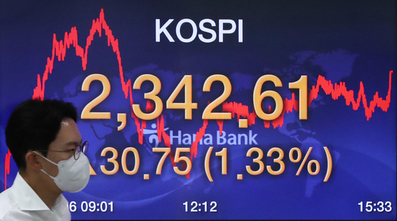 A screen shows the closing figure for the Kospi in a trading room at Hana Bank in Jung District, central Seoul, on Thursday. [NEWS1]