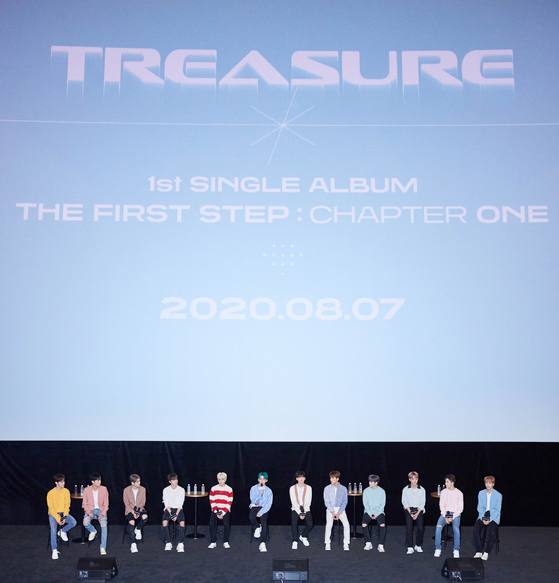 Boy band Treasure answers questions from the local press at its debut press conference held on Friday at the Yeongdeungpo CGV in southwestern Seoul. [YG ENTERTAINMENT]