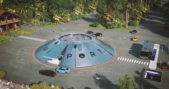 A bird's-eye view of a logistics drone services hub built by Urban-Air Port. [URBAN-AIR PORT]
